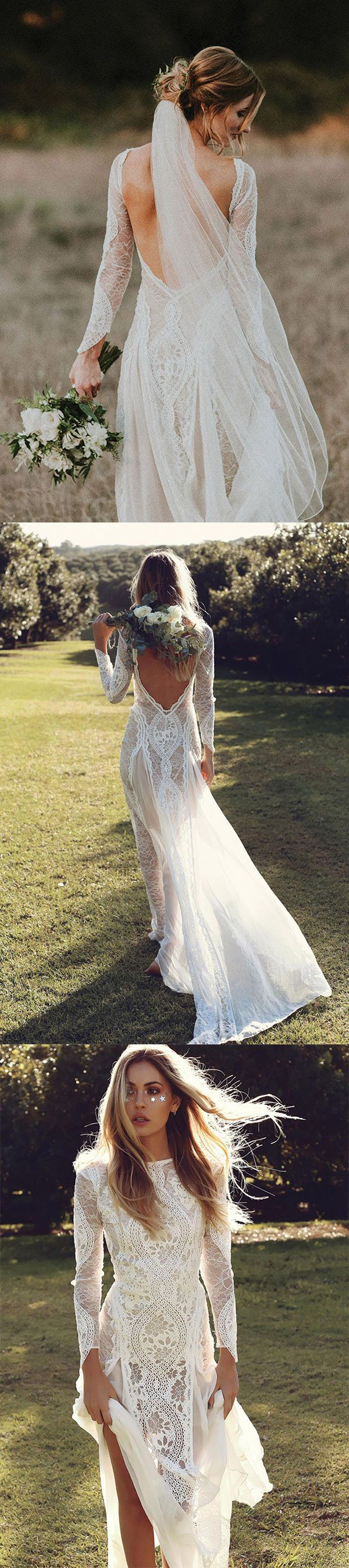 beautiful low back boho wedding dresses