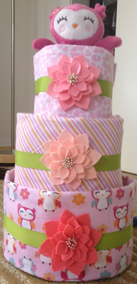Large Girl Owl Diaper Cake by babycakeschristine on Etsy, $65.00