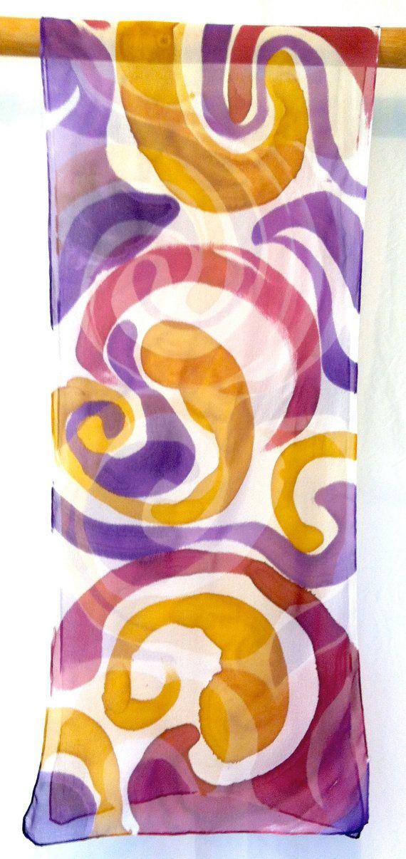 Hand painted silk scarf. Purple MOD Swirl. by SilkScarvesTakuyo