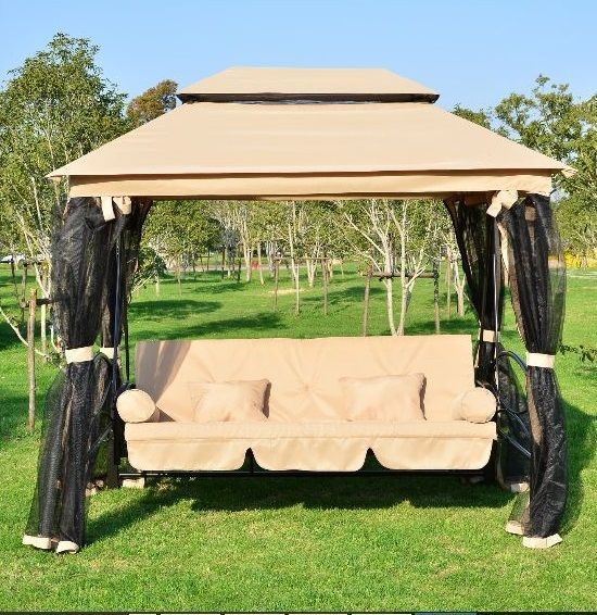 Patio Swing With Canopy Outdoor Porch Lawn Daybed Gazebo Steel Frame Seat  Screen #Outsunny