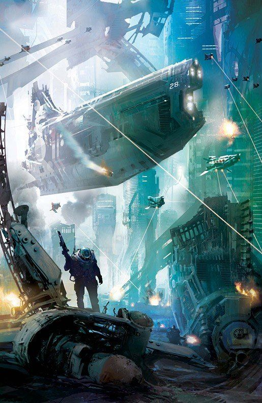 Amazing futuristic scene by Stephan Martiniere