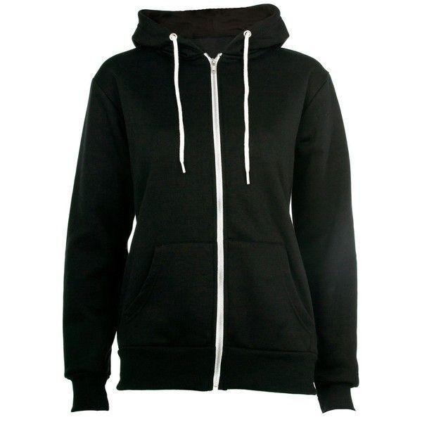 Black Zip Up Hoodie ($18) ❤ liked on Polyvore