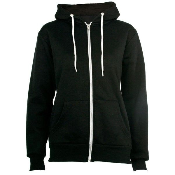 Black Zip Up Hoodie ($18) ❤ liked on Polyvore
