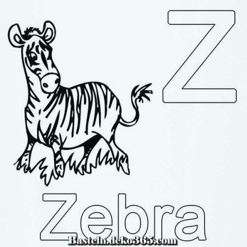 lerne die buchstaben z qua zebra zum ausmalen  basteln