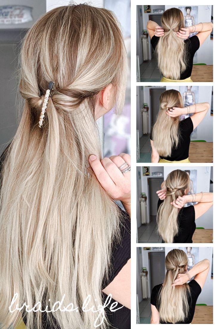 13 Schritte Anleitung Festliche Halboffene Frisur Fur Weihnachten Braids Life Mittellange Haare Lange Haare Zopf Lange Haare