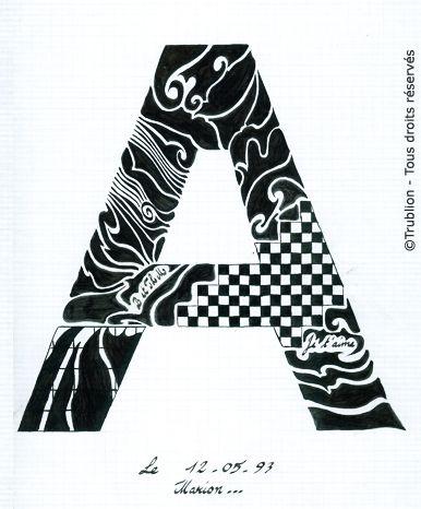 Trublion 39 s work grande lettre majuscule a lettrine dessin e la plume en encre de chine - H en majuscule ...