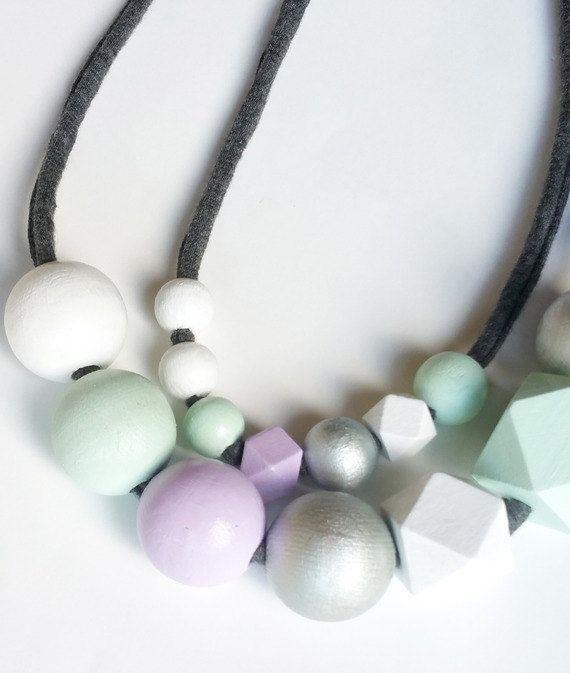 Collana MammaFiglia con perle di legno a di stellegemelleDesign