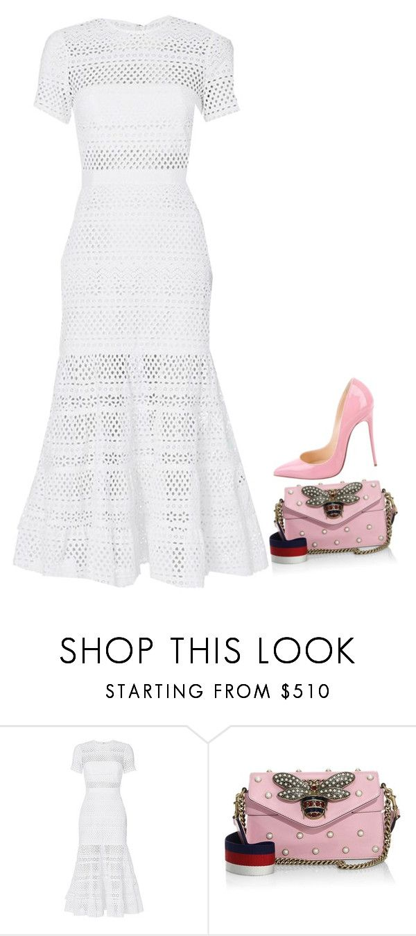 """Untitled #2243"" by kelly213 ❤ liked on Polyvore featuring self-portrait, Gucci and Christian Louboutin"