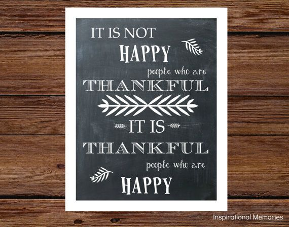 """Thanksgiving Inspirational Quote Chalkboard Print-Framed """"It is not happy people who are thankful, it is thankful...""""  8.5""""x11"""" OR 5""""x7"""""""