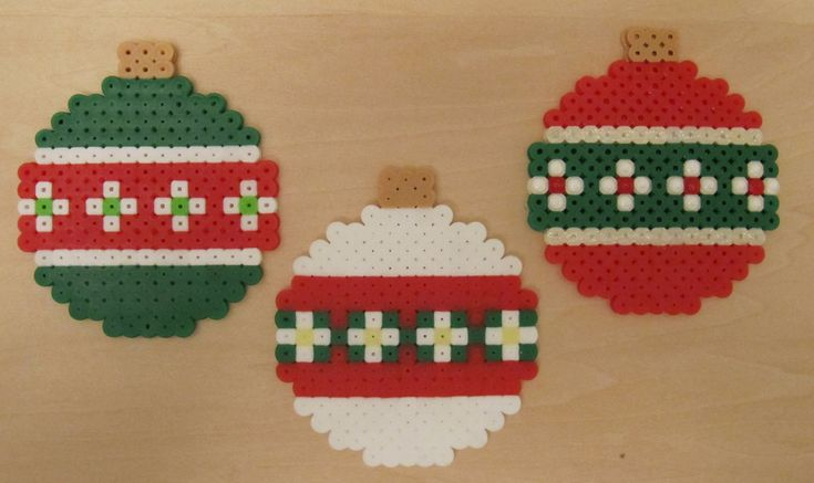 Christmas ornaments hama perler beads by catz200