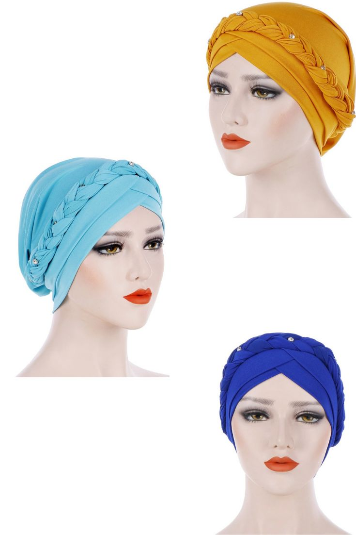 Beanie Chemo Cap Turban with Pearls, Single Braid Bonnet Turban Hat, Head Wrap Turban Hijab Hair Covering   – Turbans Girls / Women