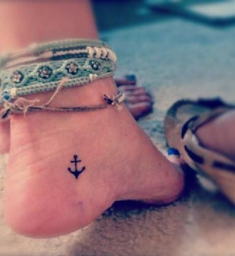 Cool Small Anchor Tattoos On Foot, New Tattoo Designs August 2016