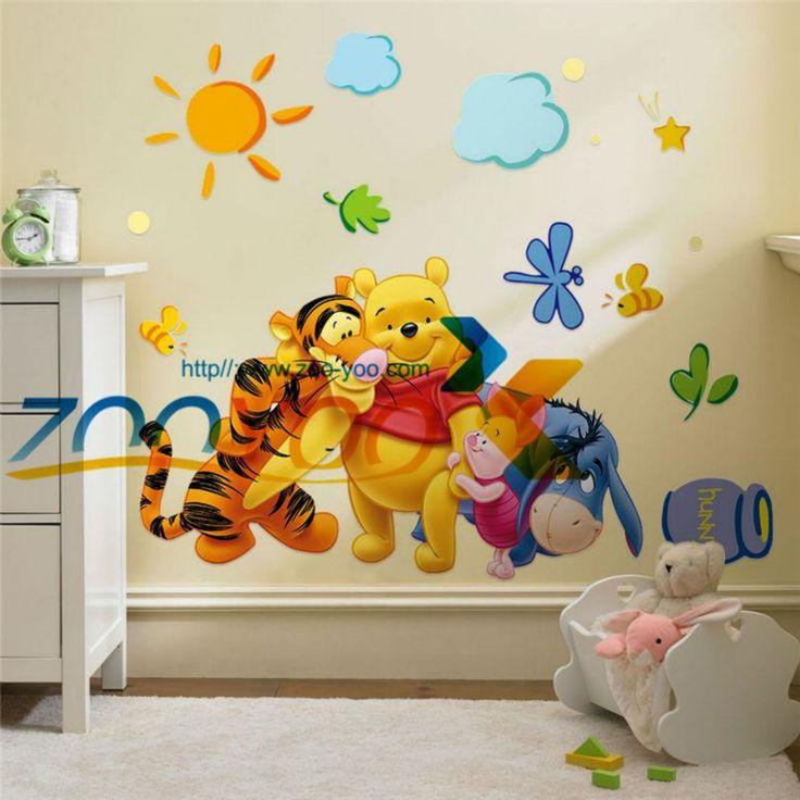 Winnie The Pooh E Amigos Adesivos De Parede Para Quartos De Crianças  Zooyoo2006 Decoração Da Part 79