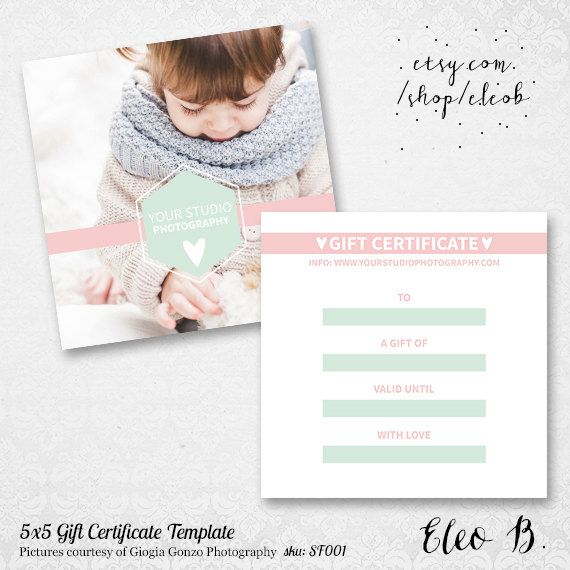 Fotografie Gift Card Zertifikatvorlage - Fotograf Flyer Gutschein Geschenkkarte - Photoshop-Marketing-Design - SF001 - instant download