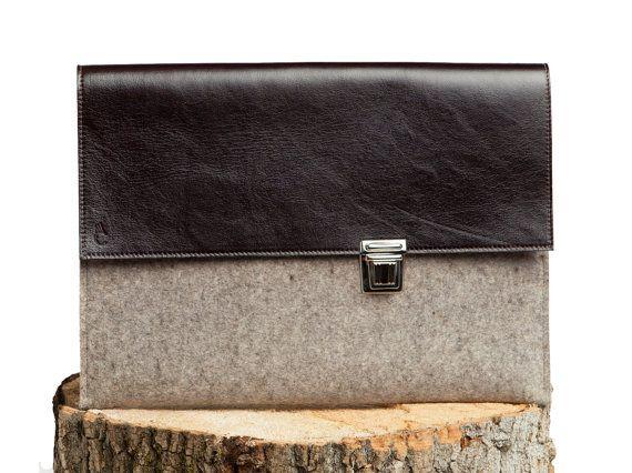 Ordinateur portable cas 13 pouces Macbook Pro - manchon de feutre de laine gris avec cuir noir