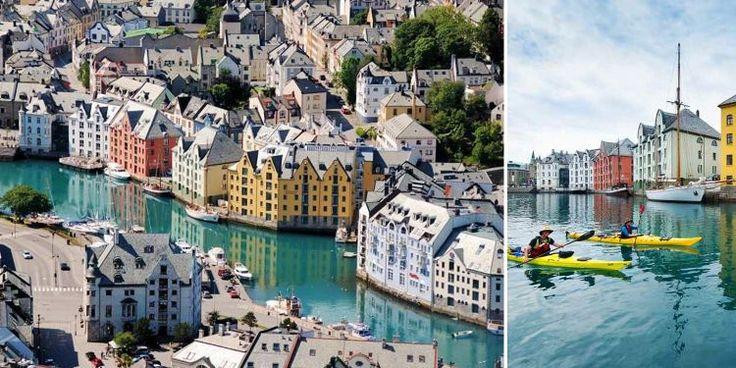 Vart du än vänder ansiktet har du vatten i blick. Ålesund är Norges vackraste stad och en magnifik utgångspunkt för att utforska det västnorska fjordlandskapet med båt, till cykel eller varf...