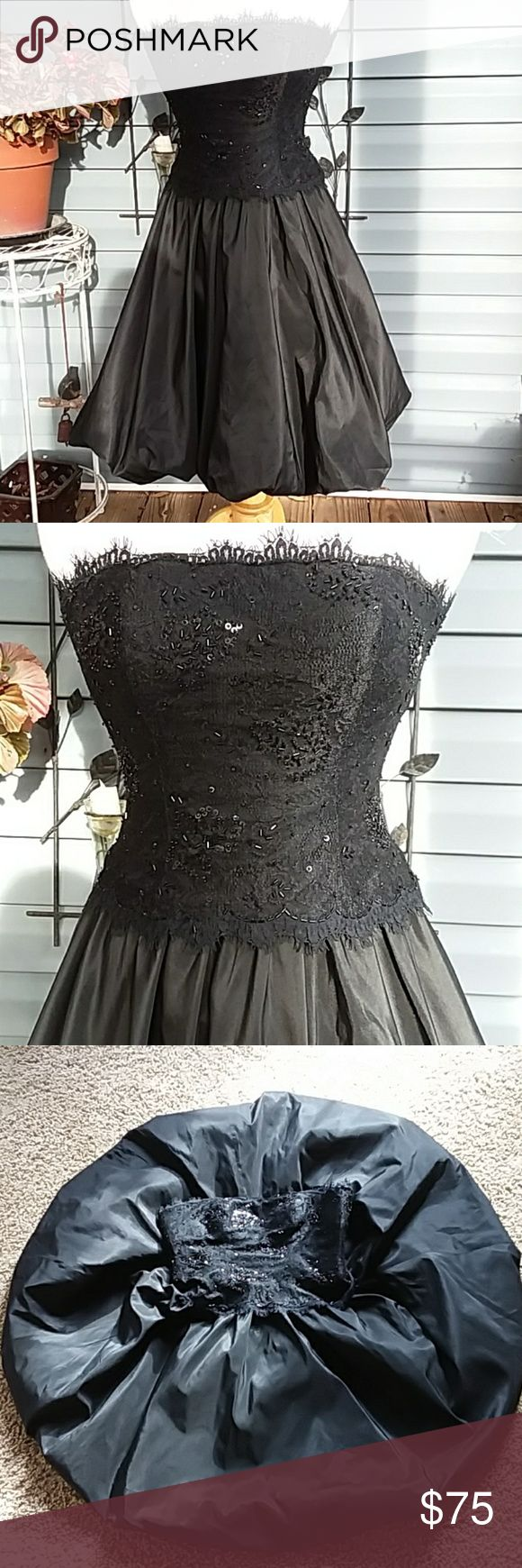 """Tadashi taffeta &lace party dress Just gorgeous full skirt with balloon helpline with fitted lace and beaded top.  Boning and gel strip.  100% silk.  Make an entrance at your holiday party, prom, marine ball, you name it this is it! Measurements: Armpit to armpit is 15.5 Waist. 14.5"""" Length 32"""" Tadashi Shoji Dresses Strapless"""