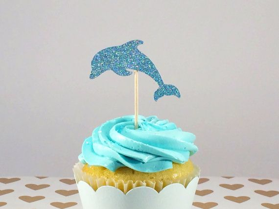 12 Blue Glitter Dolphin Cupcake Toppers Ocean Theme Party