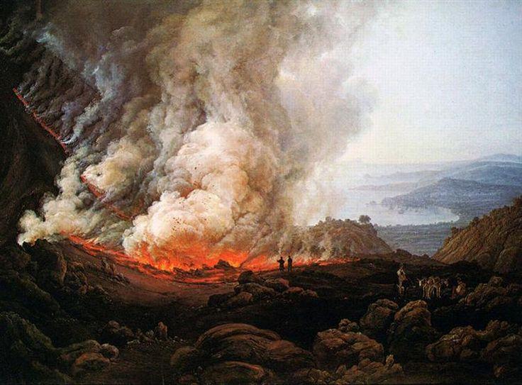 Eruption of Vesuvius, 1826 by Johan Christian Dahl. Romanticism. landscape