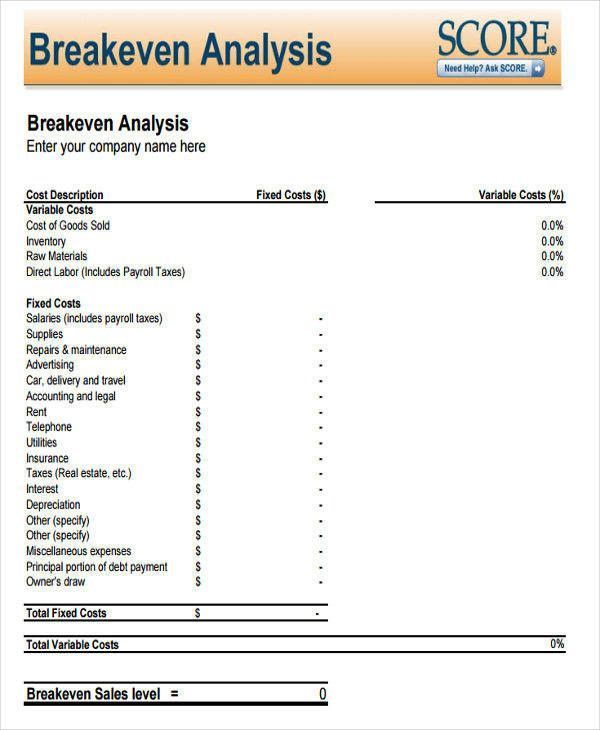 Break Even Analysis Template Ideal Breakeven Analysis 7 Examples