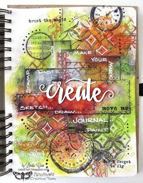 Beautiful work by Linda>>> FRIENDS in ART: Just Create to Create - A Journal Page
