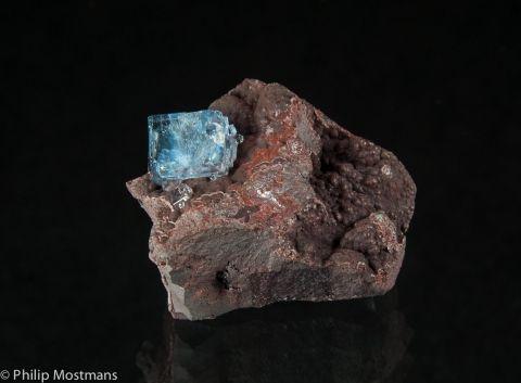 Fluorite on Hematite - Florence Mine, Egremont, Cumbria, England, UK Size: 40 × 30 × 20 mm