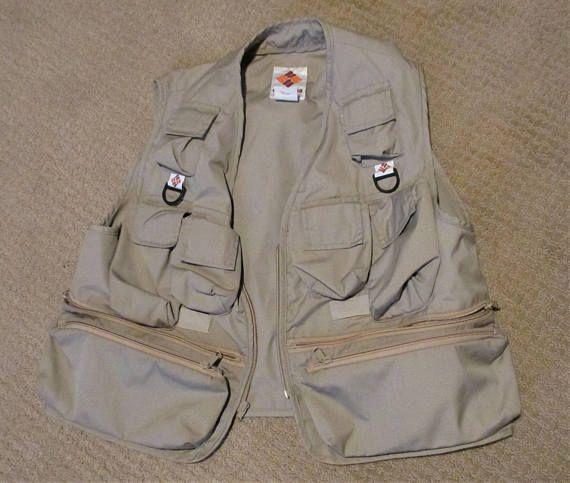 Mens 80s Safari Vest Size Large 1980s Columbia Sportswear