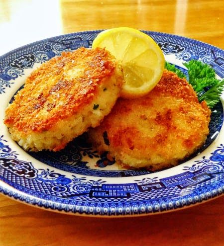 One Perfect Bite: Ina's Chive Risotto Cakes served with arugula salad and lemon vinaigrette
