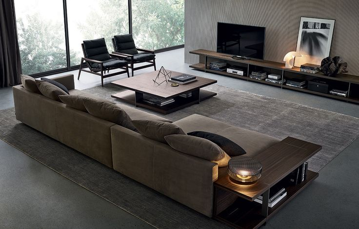 Poliform_Bristol composition with chaise-longue, in nubuck leather. Central and lateral coffee table in spessart oak, piombo painted metal feet. Ipanema armchairs in spessart oak and seat cushions in removable fabric.