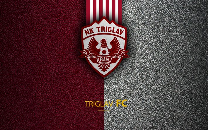 Download wallpapers Triglav FC, 4k, Slovenian football club, emblem, leather texture, PrvaLiga, Kranj, Slovenia, Slovenian First Football League, football