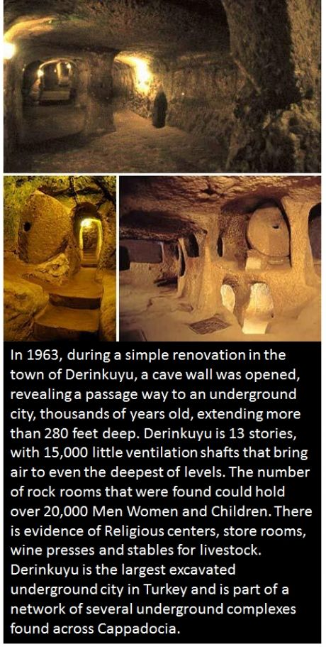Ancient Underground City of Derinkuyu in Turkey. circa 1700 b.c.e. Why would people and livestock live underground?