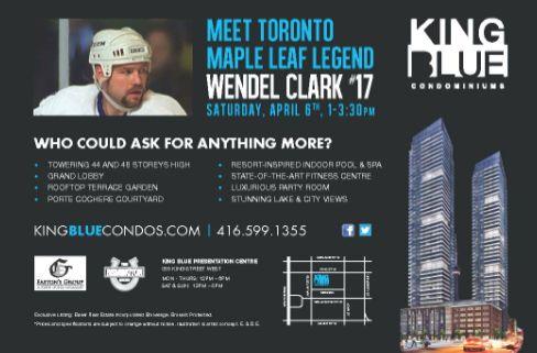 #KingBlueCondos #Toronto #Kingwest #TorontoMapleLeafs #Leafs #WendelClark #Hockey #condo