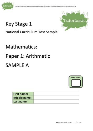 KS1 SATs 2016: Arithmetic Paper 1: SAMPLE A (with answers)