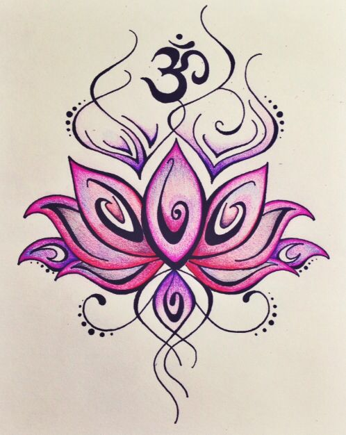 Lotus and Om Drawing lLOVE THIS AS IT IS MY FAVE COLOURS/ -- I don't know what an om is. But I love the flower!!!