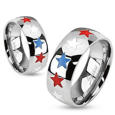 Stainless Steel Red, White, and Blue Stars Patriotic Band Ring Size 5-13