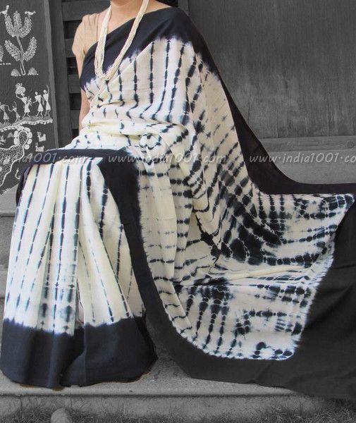 Elegant Mul Cotton Saree with Shibori work