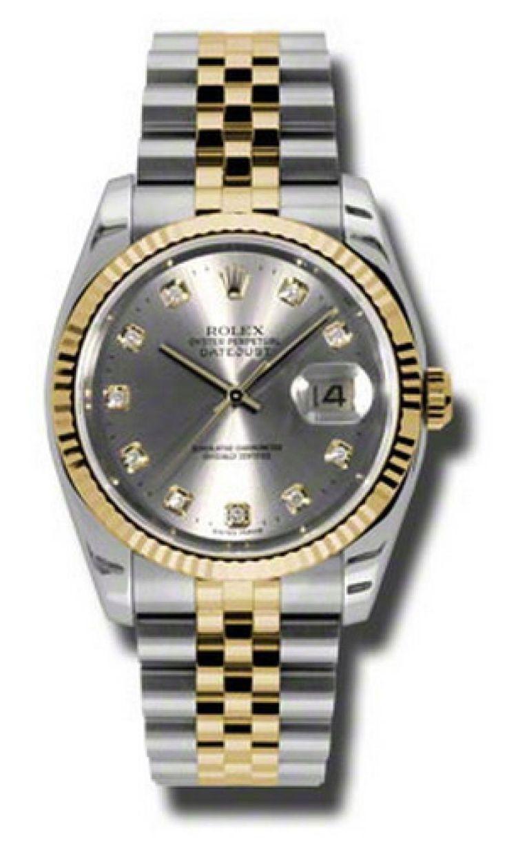Rolex 116233 gdj Datejust Steel and Yellow Gold - швейцарские мужские (унисекс) часы наручные, стальные с бриллиантами