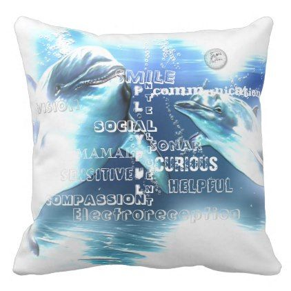 Incredible Dolphins Typography Throw Pillow - ocean side nature waves freedom design