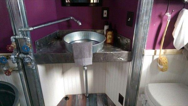 Oil Pan Sink Rustic Bathroom Tiny House Bathrooms