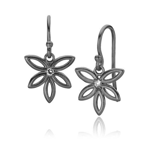 BLOSSOM earrings shaped as flowers with a zirconia in the center in matt black sterling silver - Danish design jewelry by Izabel Camille. Price: EUR 60 No. A1115ssr www.izabelcamille.com