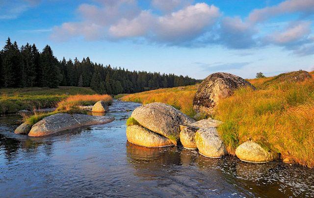 Roklanský potok se žulovými balvany, Šumava