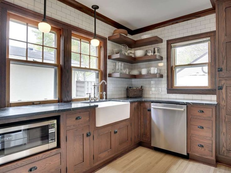 Craftsman Kitchen.  Love everything in this kitchen except the floor color.  Too Ceiling tiles especially.  with Flat panel cabinets, Crown molding, Dura supreme cabinetry craftsman panel inset, Pendant light