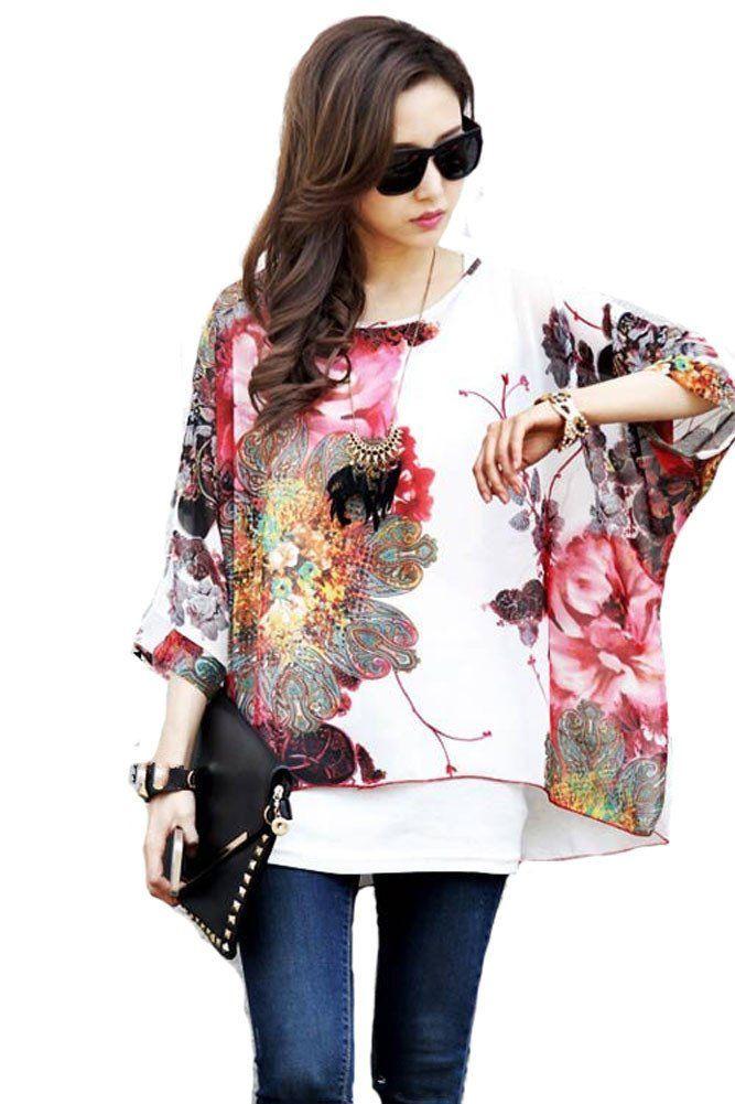 iNewbetter Womens Floral Batwing Sleeve Chiffon Beach Loose Blouse Tunic Tops (Pattern 01) at Amazon Women's Clothing store: