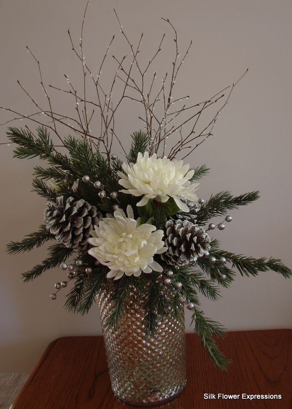 10 best images about christmas silk flower arrangements on for Floral arrangements with branches