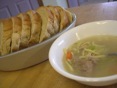 Homemade chicken soup ~ combine ingredients, simmer until the kitchen smells wonderful, serve with homemade bread, add a dose of Love!