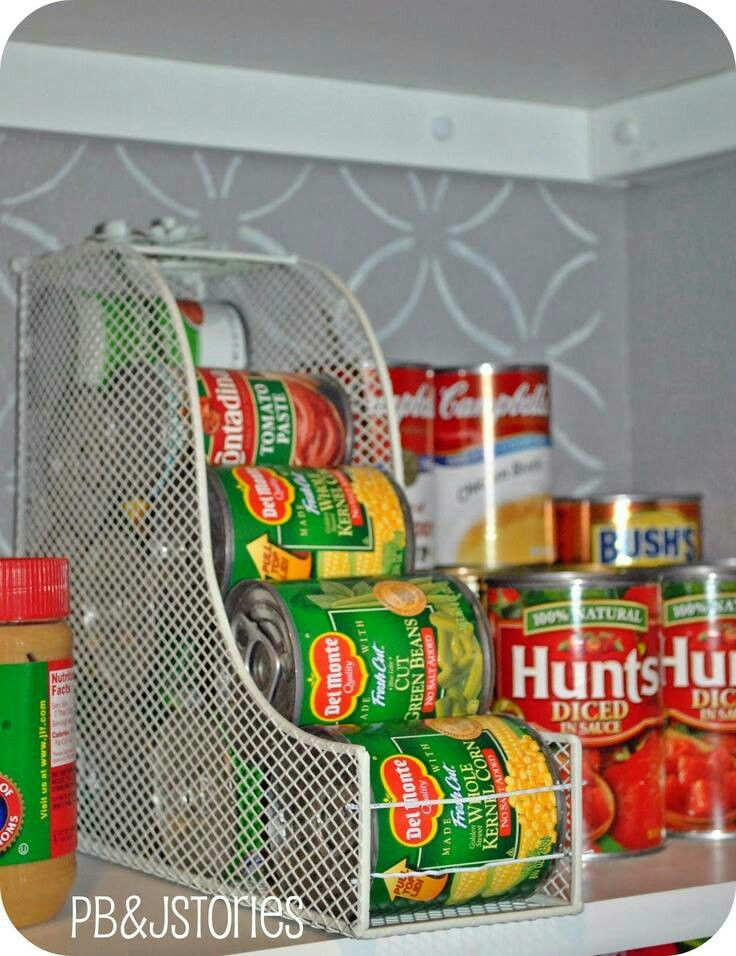 Use magazine holder to hold cans
