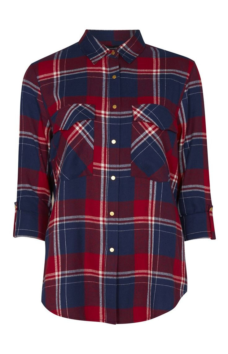 Primark - Red And Navy Oversized Check Shirt