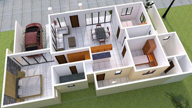 25 More 3 Bedroom 3d Floor Plans 3d House Plans Bedroom House Plans Modern House Plan