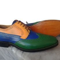 Handmade wing tip Multi Color Shoes, Men's Oxford Leather Lace Up Fashion Shoes from leatherworld2014