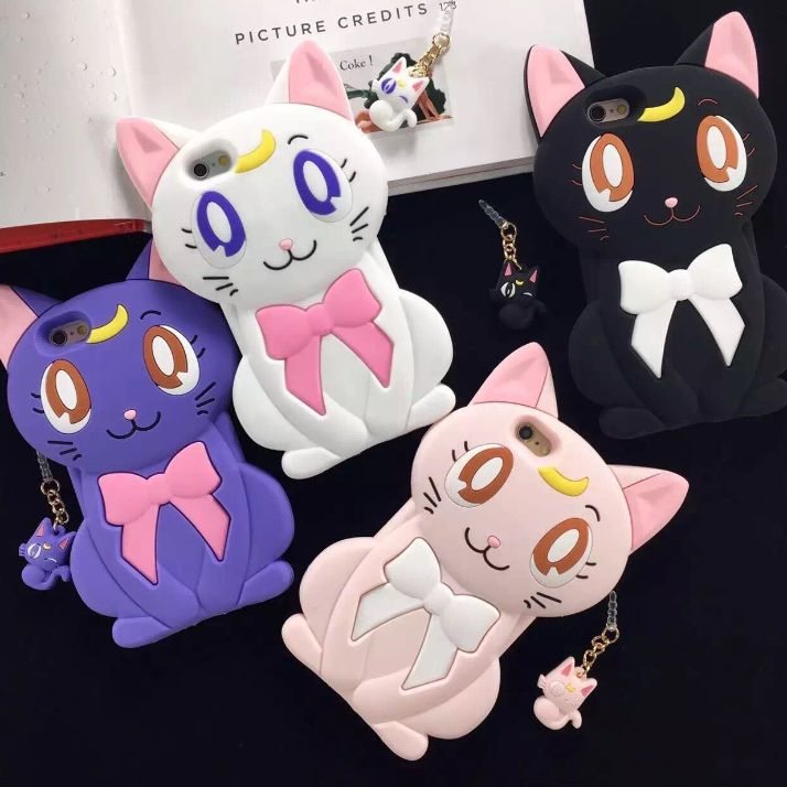 Black/White/Pink/Purple Cute Cat Bowknot Iphone Case